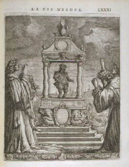 Illustration for La vie d'Esope (Life of Aesop) on page LXXXI in the book Les fables d'Esope et de plusieurs autres excellens mythologistes (Amsterdam: Etienne Roger 1714)