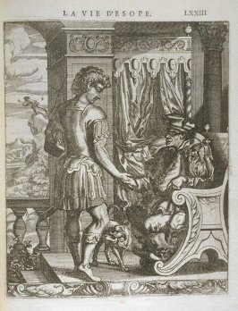 Illustration for La vie d'Esope (Life of Aesop) on page LXXIII in the book Les fables d'Esope et de plusieurs autres excellens mythologistes (Amsterdam: Etienne Roger 1714)