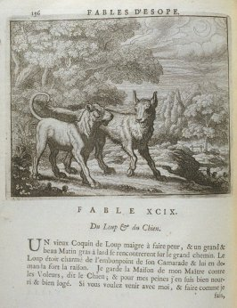 Illustration for the ninety-ninth fable on page 196 in the book Les fables d'Esope et de plusieurs autres excellens mythologistes (Amsterdam: Etienne Roger 1714)