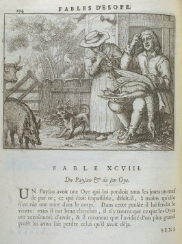 Illustration for the ninety-eighth fable on page 194 in the book Les fables d'Esope et de plusieurs autres excellens mythologistes (Amsterdam: Etienne Roger 1714)