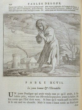 Illustration for the ninety-seventh fable on page 192 in the book Les fables d'Esope et de plusieurs autres excellens mythologistes (Amsterdam: Etienne Roger 1714)