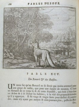 Illustration for the ninety-fifth fable on page 188 in the book Les fables d'Esope et de plusieurs autres excellens mythologistes (Amsterdam: Etienne Roger 1714)
