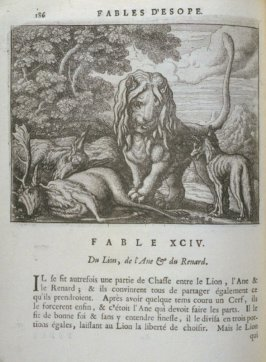 Illustration for the ninety-fourth fable on page 186 in the book Les fables d'Esope et de plusieurs autres excellens mythologistes (Amsterdam: Etienne Roger 1714)