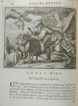 Illustration for the ninety-third fable on page 184 in the book Les fables d'Esope et de plusieurs autres excellens mythologistes (Amsterdam: Etienne Roger 1714)