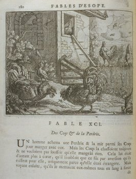 Illustration for the ninety-first fable on page 180 in the book Les fables d'Esope et de plusieurs autres excellens mythologistes (Amsterdam: Etienne Roger 1714)