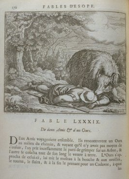 Illustration for the eighty-ninth fable on page 176 in the book Les fables d'Esope et de plusieurs autres excellens mythologistes (Amsterdam: Etienne Roger 1714)