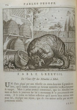 Illustration for the eighty-eighth fable on page 174 in the book Les fables d'Esope et de plusieurs autres excellens mythologistes (Amsterdam: Etienne Roger 1714)