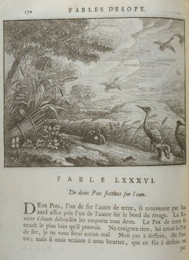 Illustration for the eighty-sixth fable on page 170 in the book Les fables d'Esope et de plusieurs autres excellens mythologistes (Amsterdam: Etienne Roger 1714)