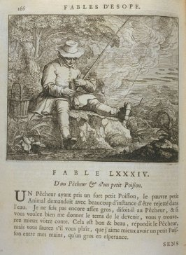 Illustration for the eighty-fourth fable on page 166 in the book Les fables d'Esope et de plusieurs autres excellens mythologistes (Amsterdam: Etienne Roger 1714)