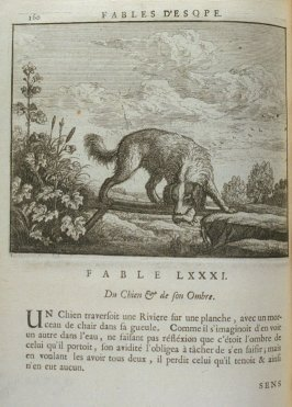 Illustration for the eighty-first fable on page 160 in the book Les fables d'Esope et de plusieurs autres excellens mythologistes (Amsterdam: Etienne Roger 1714)