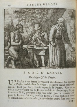 Illustration for the seventy-seventh fable on page 152 in the book Les fables d'Esope et de plusieurs autres excellens mythologistes (Amsterdam: Etienne Roger 1714)