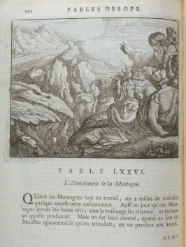 Illustration for the seventy-sixth fable on page 150 in the book Les fables d'Esope et de plusieurs autres excellens mythologistes (Amsterdam: Etienne Roger 1714)