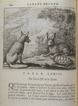 Illustration for the seventy-third fable on page 144 in the book Les fables d'Esope et de plusieurs autres excellens mythologistes (Amsterdam: Etienne Roger 1714)