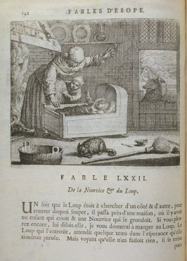 Illustration for the seventy-second fable on page 142 in the book Les fables d'Esope et de plusieurs autres excellens mythologistes (Amsterdam: Etienne Roger 1714)