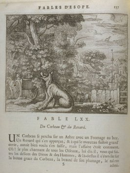 Illustration for the seventieth fable on page 137 in the book Les fables d'Esope et de plusieurs autres excellens mythologistes (Amsterdam: Etienne Roger 1714)