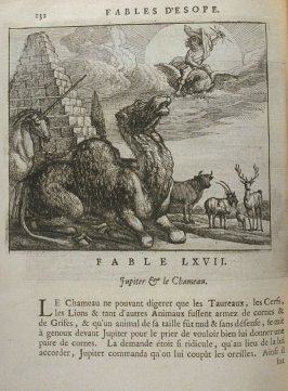 Illustration for the sixty-seventh fable on page 132 in the book Les fables d'Esope et de plusieurs autres excellens mythologistes (Amsterdam: Etienne Roger 1714)
