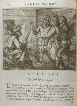 Illustration for the sixty-fourth fable on page 126 in the book Les fables d'Esope et de plusieurs autres excellens mythologistes (Amsterdam: Etienne Roger 1714)