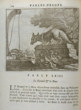 Illustration for the sixty-third fable on page 124 in the book Les fables d'Esope et de plusieurs autres excellens mythologistes (Amsterdam: Etienne Roger 1714)