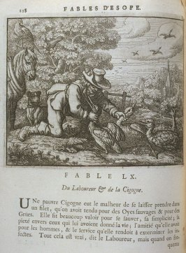 Illustration for the sixtieth fable on page 118 in the book Les fables d'Esope et de plusieurs autres excellens mythologistes (Amsterdam: Etienne Roger 1714)