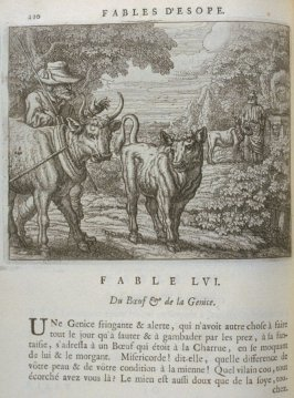 Illustration for the fifty-sixth fable on page 110 in the book Les fables d'Esope et de plusieurs autres excellens mythologistes (Amsterdam: Etienne Roger 1714)