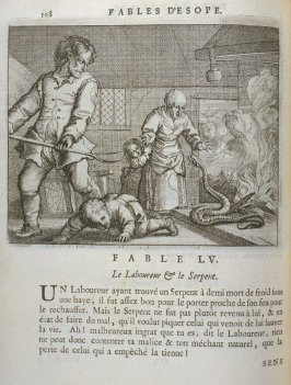 Illustration for the fifty-fifth fable on page 108 in the book Les fables d'Esope et de plusieurs autres excellens mythologistes (Amsterdam: Etienne Roger 1714)