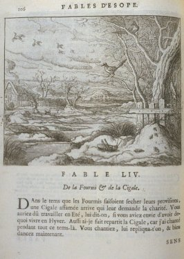 Illustration for the fifty-fourth fable on page 106 in the book Les fables d'Esope et de plusieurs autres excellens mythologistes (Amsterdam: Etienne Roger 1714)