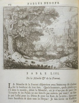 Illustration for the fifty-third fable on page 104 in the book Les fables d'Esope et de plusieurs autres excellens mythologistes (Amsterdam: Etienne Roger 1714)