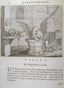 Illustration for the fiftieth fable on page 98 in the book Les fables d'Esope et de plusieurs autres excellens mythologistes (Amsterdam: Etienne Roger 1714)