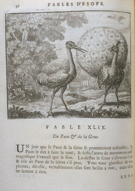 Illustration for the forty-ninth fable on page 94 in the book Les fables d'Esope et de plusieurs autres excellens mythologistes (Amsterdam: Etienne Roger 1714)