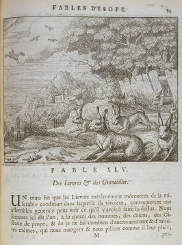 Illustration for the forty-fifth fable on page 89 in the book Les fables d'Esope et de plusieurs autres excellens mythologistes (Amsterdam: Etienne Roger 1714)