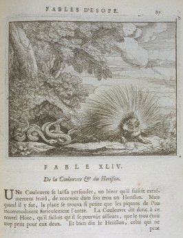 Illustration for the forty-fourth fable on page 87 in the book Les fables d'Esope et de plusieurs autres excellens mythologistes (Amsterdam: Etienne Roger 1714)