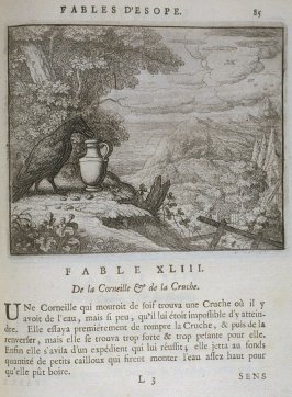 Illustration for the forty-third fable on page 85 in the book Les fables d'Esope et de plusieurs autres excellens mythologistes (Amsterdam: Etienne Roger 1714)