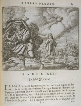 Illustration for the forty-second fable on page 83 in the book Les fables d'Esope et de plusieurs autres excellens mythologistes (Amsterdam: Etienne Roger 1714)