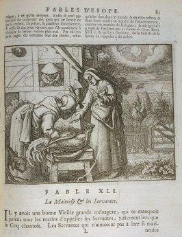 Illustration for the forty-first fable on page 81 in the book Les fables d'Esope et de plusieurs autres excellens mythologistes (Amsterdam: Etienne Roger 1714)