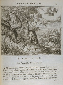 Illustration for the fortieth fable on page 79 in the book Les fables d'Esope et de plusieurs autres excellens mythologistes (Amsterdam: Etienne Roger 1714)