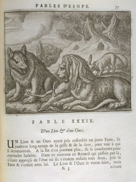 Illustration for the thirty-ninth fable on page 77 in the book Les fables d'Esope et de plusieurs autres excellens mythologistes (Amsterdam: Etienne Roger 1714)