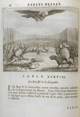 Illustration for the thirty-eighth fable on page 76 in the book Les fables d'Esope et de plusieurs autres excellens mythologistes (Amsterdam: Etienne Roger 1714)