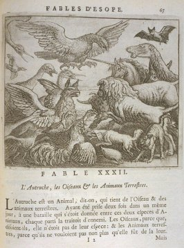 Illustration for the thirty-second fable on page 67 in the book Les fables d'Esope et de plusieurs autres excellens mythologistes (Amsterdam: Etienne Roger 1714)