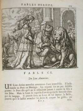Illustration for the hundred tenth fable on page 219 in the book Les fables d'Esope et de plusieurs autres excellens mythologistes (Amsterdam: Etienne Roger 1714)