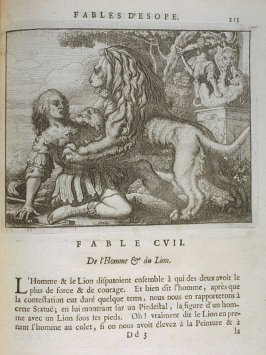 Illustration for the hundred seventh fable on page 213 in the book Les fables d'Esope et de plusieurs autres excellens mythologistes (Amsterdam: Etienne Roger 1714)
