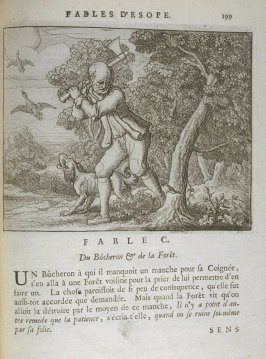 Illustration for the hundredth fable on page 199 in the book Les fables d'Esope et de plusieurs autres excellens mythologistes (Amsterdam: Etienne Roger 1714)