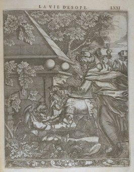 Illustration for La vie d'Esope (Life of Aesop) on page LXXI in the book Les fables d'Esope et de plusieurs autres excellens mythologistes (Amsterdam: Etienne Roger 1714)