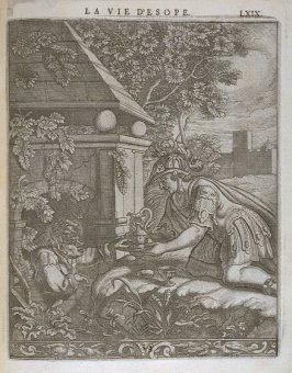 Illustration for La vie d'Esope (Life of Aesop) on page LXIX in the book Les fables d'Esope et de plusieurs autres excellens mythologistes (Amsterdam: Etienne Roger 1714)