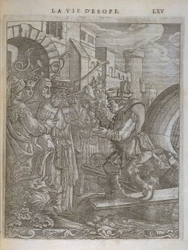 Illustration for La vie d'Esope (Life of Aesop) on page LXV in the book Les fables d'Esope et de plusieurs autres excellens mythologistes (Amsterdam: Etienne Roger 1714)