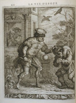 Illustration for La vie d'Esope (Life of Aesop) on page LIV in the book Les fables d'Esope et de plusieurs autres excellens mythologistes (Amsterdam: Etienne Roger 1714)