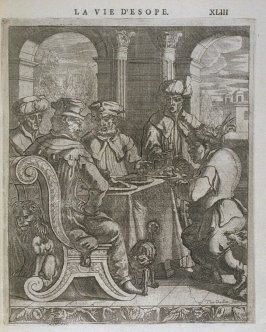Illustration for La vie d'Esope (Life of Aesop) on page XLIIII in the book Les fables d'Esope et de plusieurs autres excellens mythologistes (Amsterdam: Etienne Roger 1714)