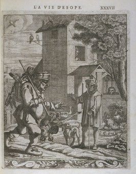 Illustration for La vie d'Esope (Life of Aesop) on page XXXVII in the book Les fables d'Esope et de plusieurs autres excellens mythologistes (Amsterdam: Etienne Roger 1714)