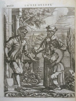 Illustration for La vie d'Esope (Life of Aesop) on page XXXIV in the book Les fables d'Esope et de plusieurs autres excellens mythologistes (Amsterdam: Etienne Roger 1714)