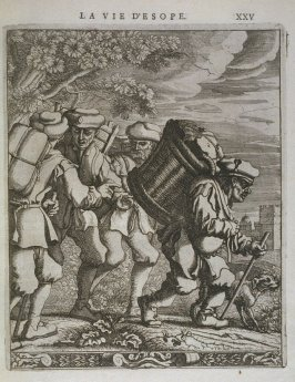 Illustration for La vie d'Esope (Life of Aesop) on page XXV in the book Les fables d'Esope et de plusieurs autres excellens mythologistes (Amsterdam: Etienne Roger 1714)