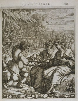 Illustration for La vie d'Esope (Life of Aesop) on page XXI in the book Les fables d'Esope et de plusieurs autres excellens mythologistes (Amsterdam: Etienne Roger 1714)